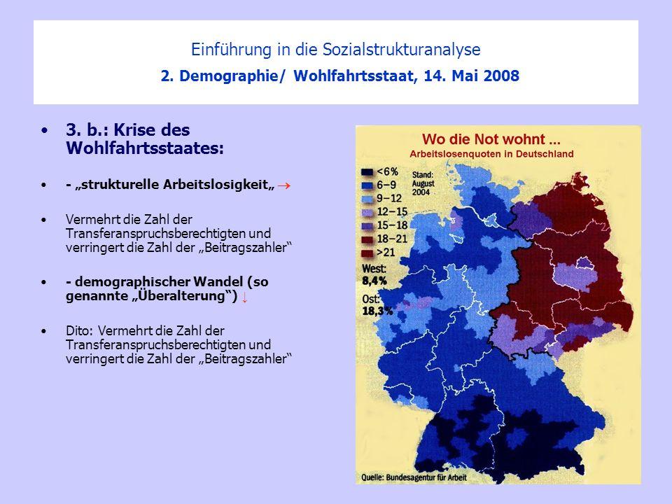 Einführung in die Sozialstrukturanalyse 2. Demographie/ Wohlfahrtsstaat, 14. Mai 2008 3. b.: Krise des Wohlfahrtsstaates: - strukturelle Arbeitslosigk