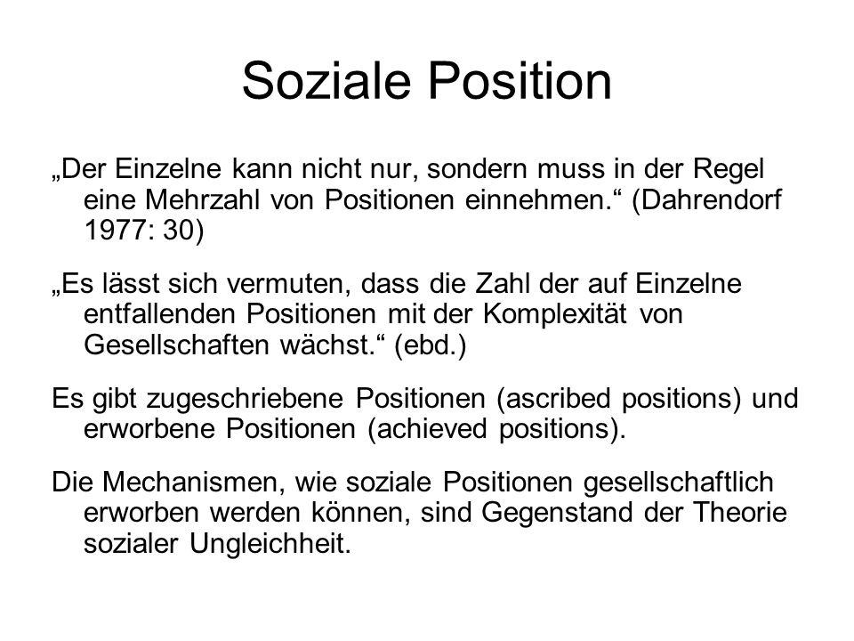 Soziale Position Der Einzelne kann nicht nur, sondern muss in der Regel eine Mehrzahl von Positionen einnehmen. (Dahrendorf 1977: 30) Es lässt sich ve