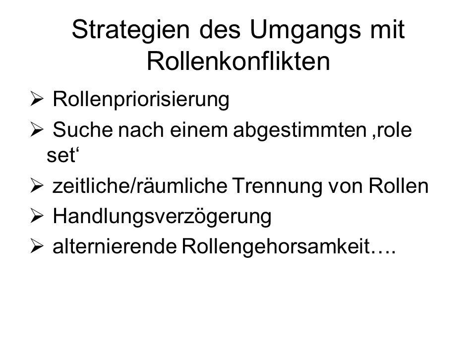Strategien des Umgangs mit Rollenkonflikten Rollenpriorisierung Suche nach einem abgestimmten role set zeitliche/räumliche Trennung von Rollen Handlun