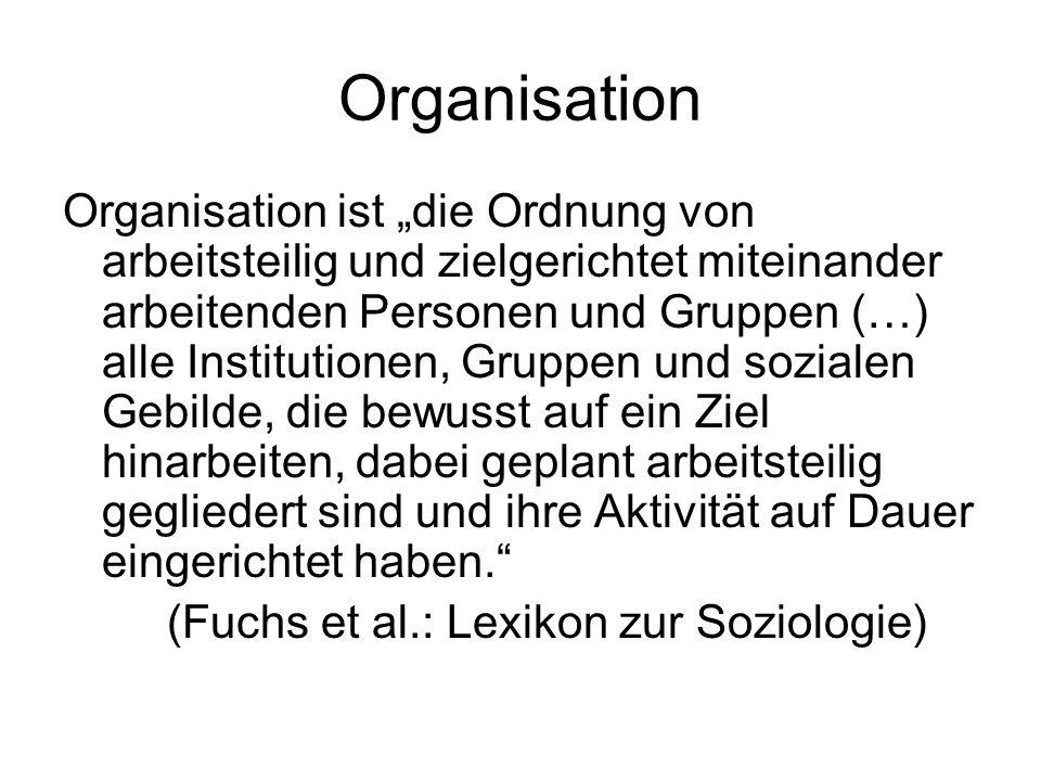 Organisation Organisation ist die Ordnung von arbeitsteilig und zielgerichtet miteinander arbeitenden Personen und Gruppen (…) alle Institutionen, Gru