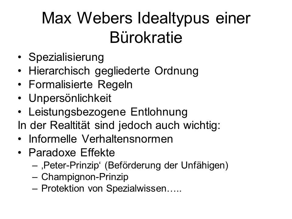 Max Webers Idealtypus einer Bürokratie Spezialisierung Hierarchisch gegliederte Ordnung Formalisierte Regeln Unpersönlichkeit Leistungsbezogene Entloh