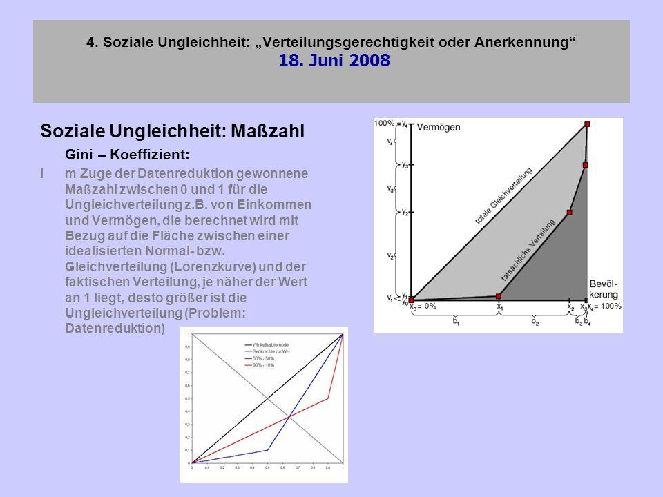 4. Soziale Ungleichheit: Verteilungsgerechtigkeit oder Anerkennung 18. Juni 2008 Soziale Ungleichheit: Maßzahl Gini – Koeffizient: Im Zuge der Datenre