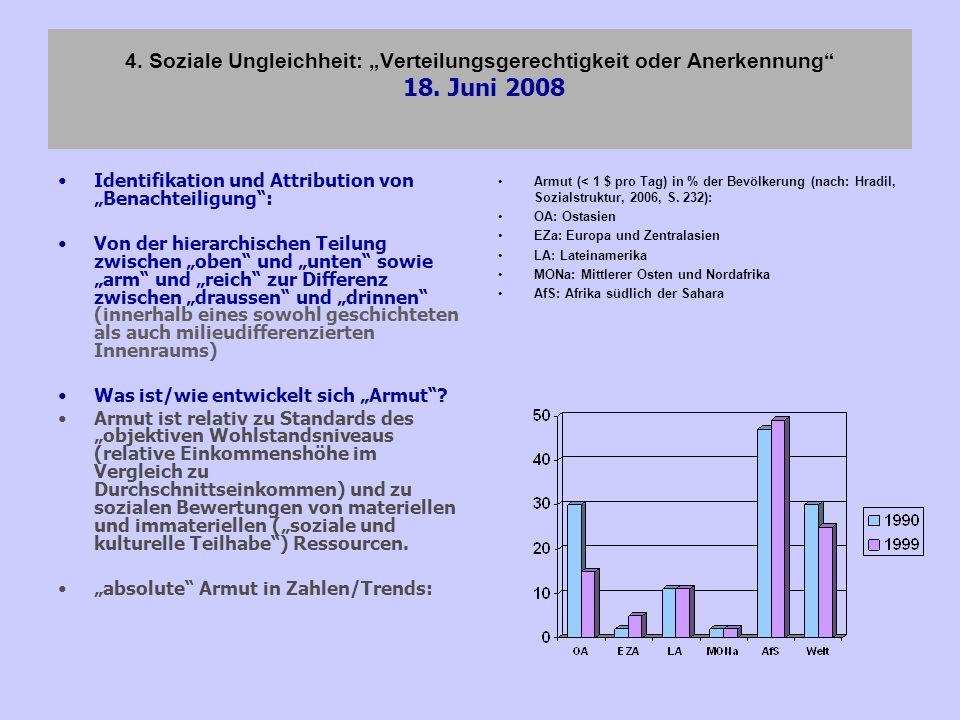 4. Soziale Ungleichheit: Verteilungsgerechtigkeit oder Anerkennung 18. Juni 2008 Identifikation und Attribution von Benachteiligung: Von der hierarchi