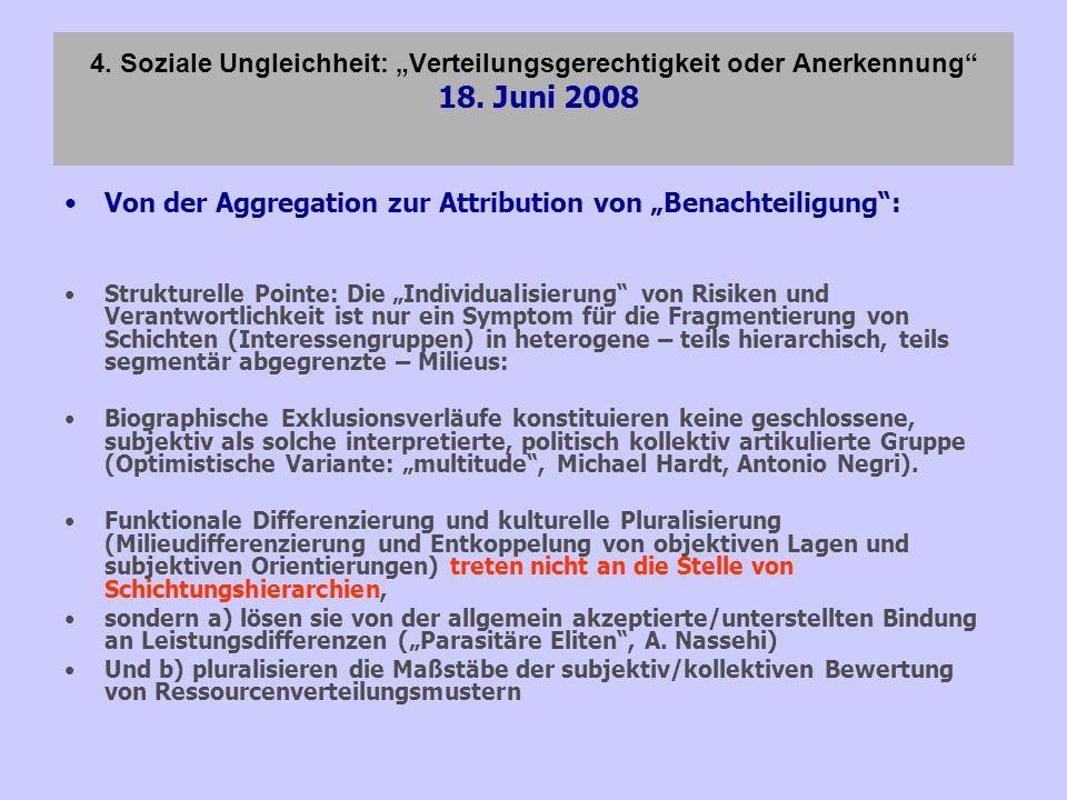 4. Soziale Ungleichheit: Verteilungsgerechtigkeit oder Anerkennung 18. Juni 2008 Von der Aggregation zur Attribution von Benachteiligung: Strukturelle