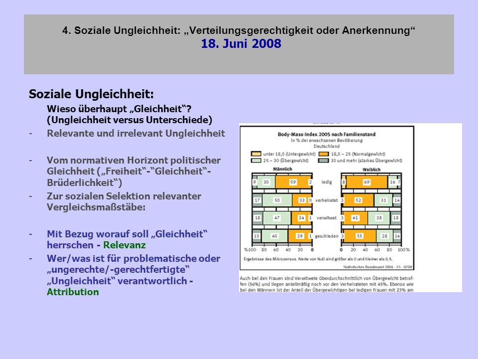 4. Soziale Ungleichheit: Verteilungsgerechtigkeit oder Anerkennung 18. Juni 2008 Soziale Ungleichheit: Wieso überhaupt Gleichheit? (Ungleichheit versu