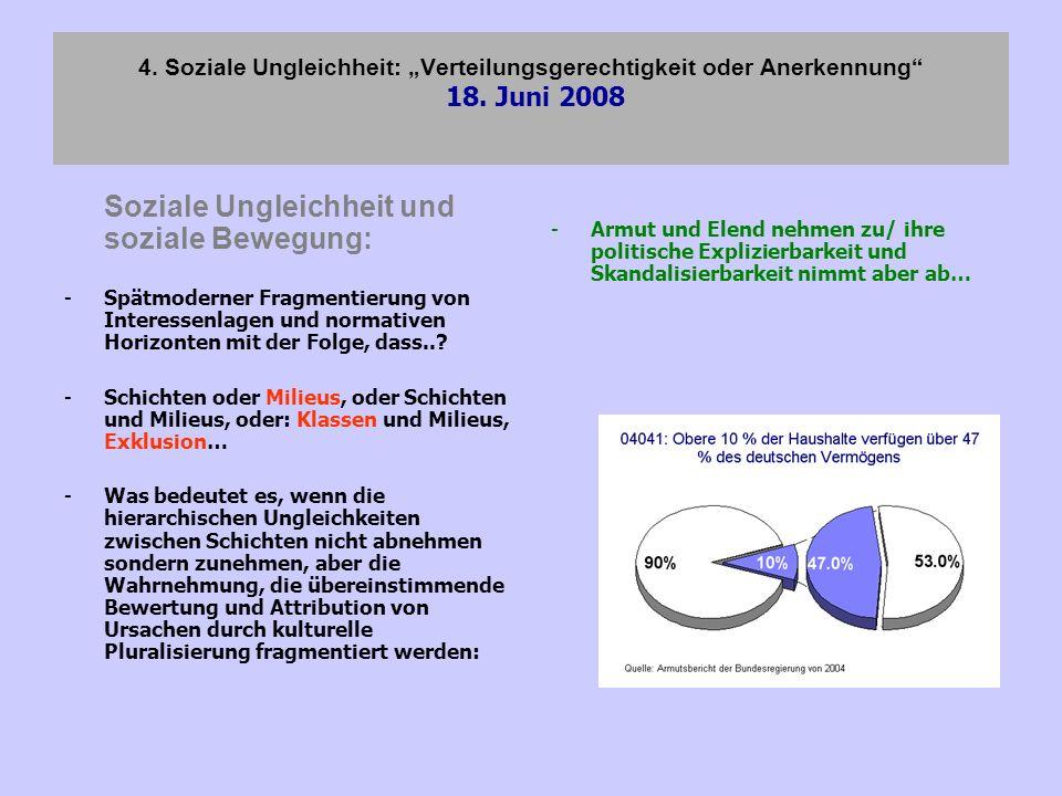 4. Soziale Ungleichheit: Verteilungsgerechtigkeit oder Anerkennung 18. Juni 2008 Soziale Ungleichheit und soziale Bewegung: -Spätmoderner Fragmentieru