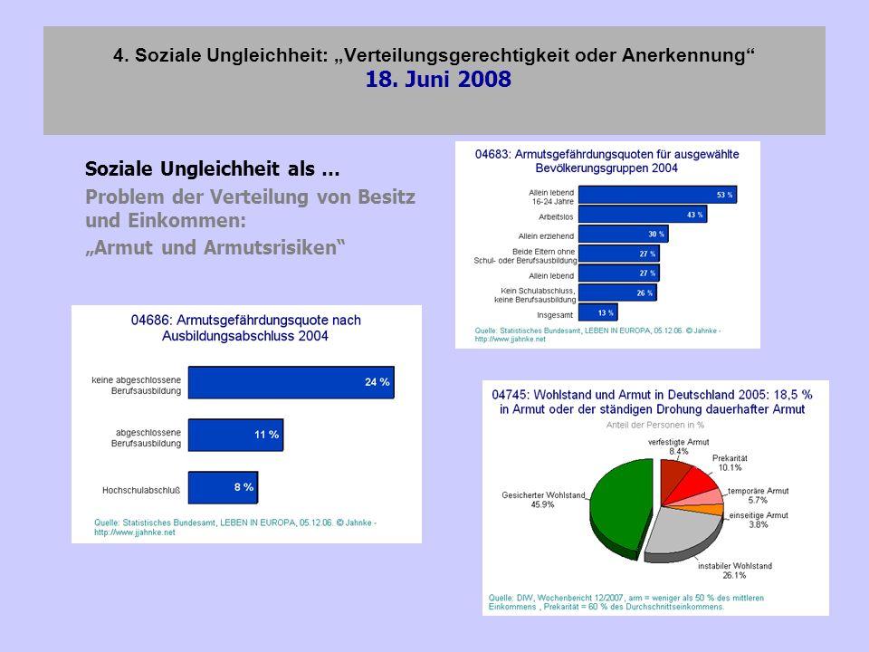 4. Soziale Ungleichheit: Verteilungsgerechtigkeit oder Anerkennung 18. Juni 2008 Soziale Ungleichheit als … Problem der Verteilung von Besitz und Eink