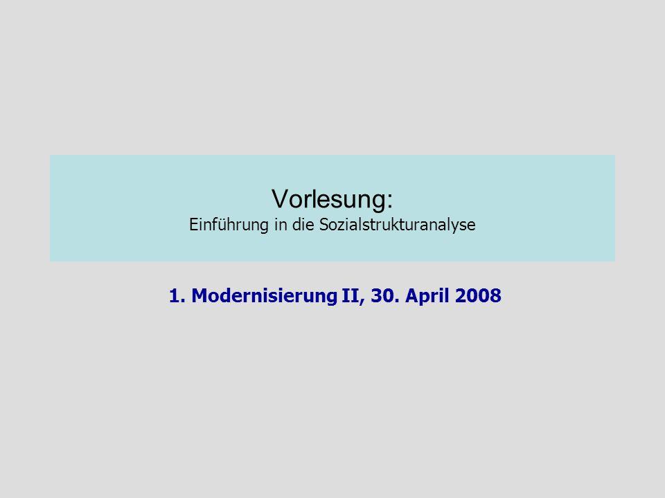 Vorlesung: Einführung in die Sozialstrukturanalyse 1. Modernisierung II, 30. April 2008