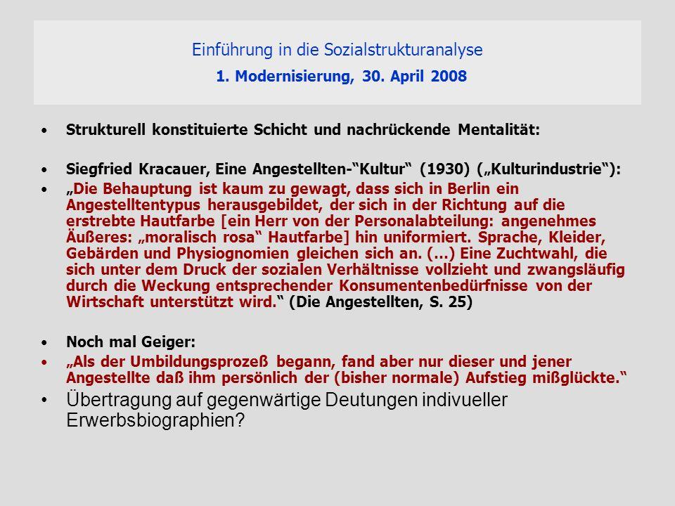 Einführung in die Sozialstrukturanalyse 1. Modernisierung, 30. April 2008 Strukturell konstituierte Schicht und nachrückende Mentalität: Siegfried Kra