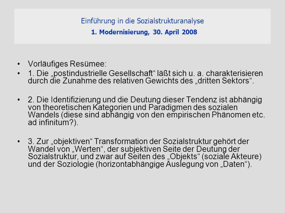 Einführung in die Sozialstrukturanalyse 1. Modernisierung, 30. April 2008 Vorläufiges Resümee: 1. Die postindustrielle Gesellschaft läßt sich u. a. ch