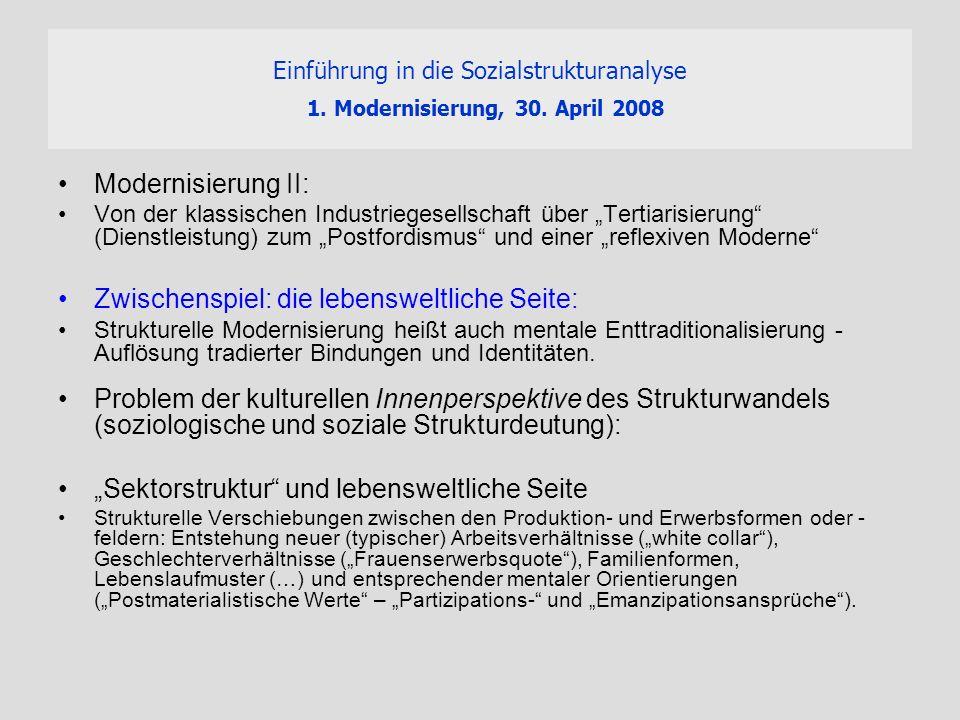 Einführung in die Sozialstrukturanalyse 1. Modernisierung, 30. April 2008 Modernisierung II: Von der klassischen Industriegesellschaft über Tertiarisi