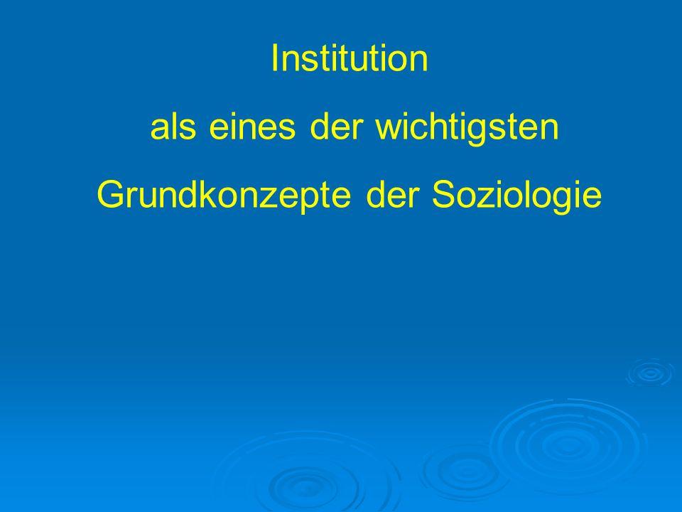 Wichtige Fragestellungen 1.Allgemein gültiges Konzept/ gültiger Begriff: Was ist eine Institution.