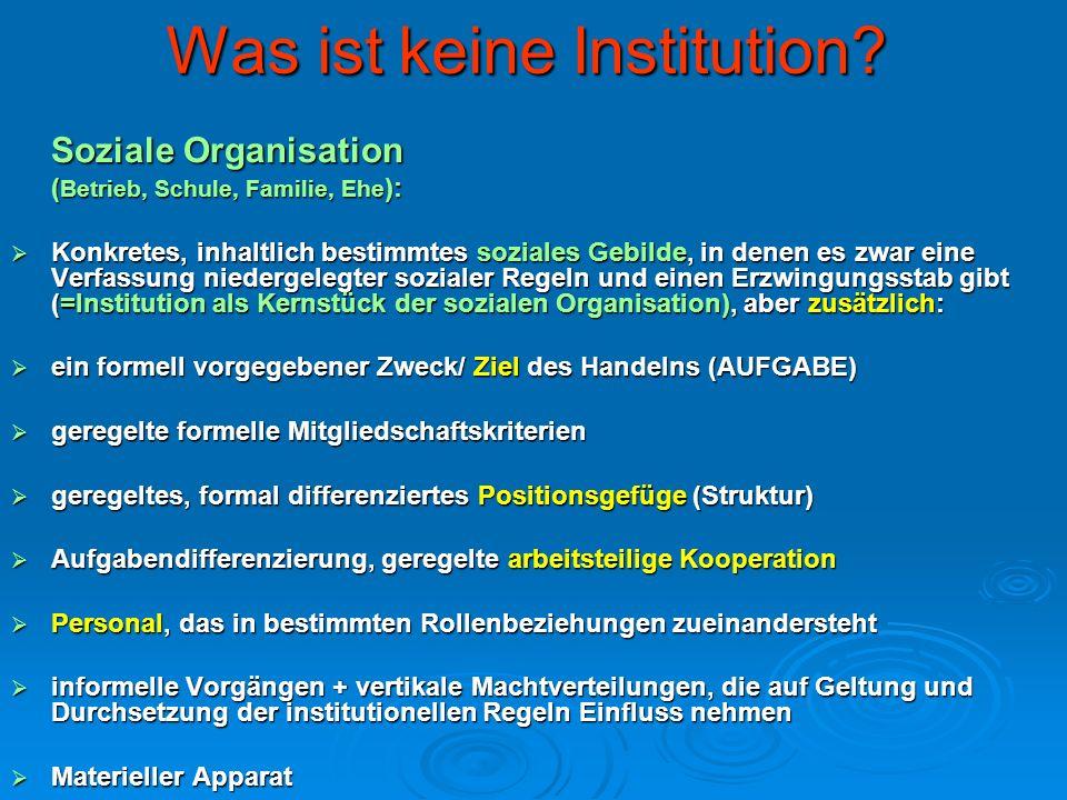 Was ist keine Institution? Soziale Organisation ( Betrieb, Schule, Familie, Ehe ): Konkretes, inhaltlich bestimmtes soziales Gebilde, in denen es zwar