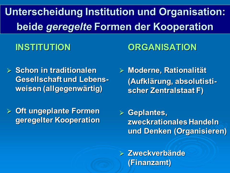 Unterscheidung Institution und Organisation: beide geregelte Formen der Kooperation INSTITUTION Schon in traditionalen Gesellschaft und Lebens- weisen