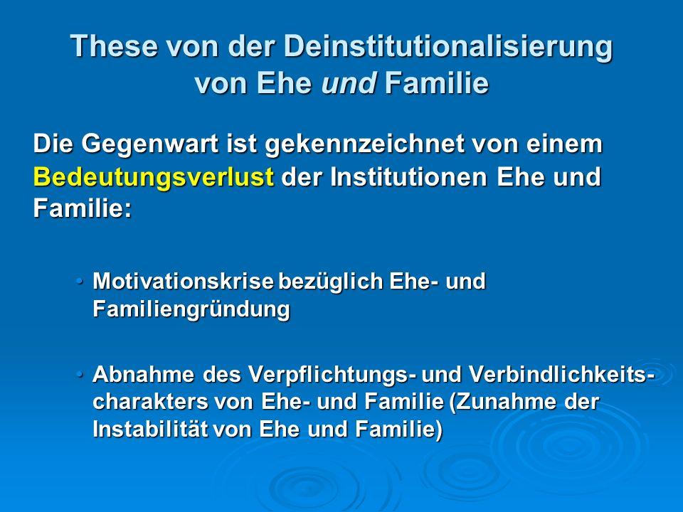 These von der Deinstitutionalisierung von Ehe und Familie Die Gegenwart ist gekennzeichnet von einem Bedeutungsverlust der Institutionen Ehe und Famil