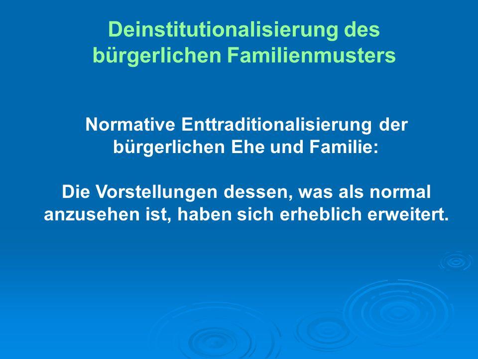 Deinstitutionalisierung des bürgerlichen Familienmusters Normative Enttraditionalisierung der bürgerlichen Ehe und Familie: Die Vorstellungen dessen,