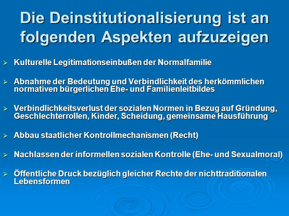 Die Deinstitutionalisierung ist an folgenden Aspekten aufzuzeigen Kulturelle Legitimationseinbußen der Normalfamilie Kulturelle Legitimationseinbußen