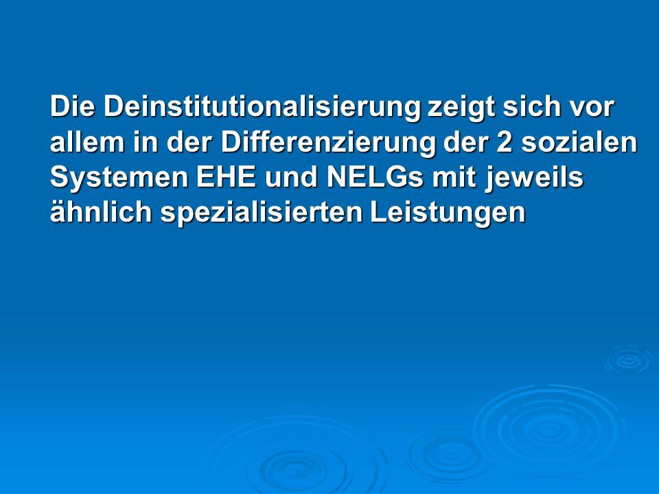 Die Deinstitutionalisierung zeigt sich vor allem in der Differenzierung der 2 sozialen Systemen EHE und NELGs mit jeweils ähnlich spezialisierten Leis
