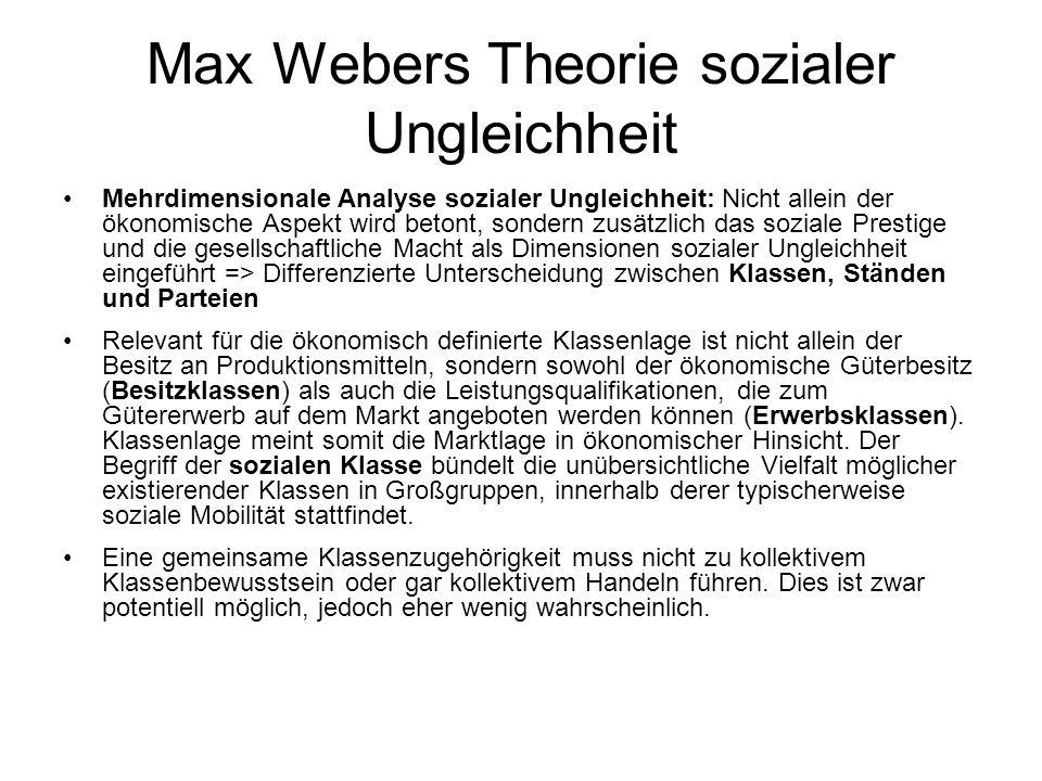 Max Webers Theorie sozialer Ungleichheit StandKlassePartei Dimensionen sozialer Ungleichheit PrestigeÖkonomische Ressourcen Macht Relevante gesellschaftliche Ausprägungen Berufsstände Geburtsstände Politische Stände Besitzklassen Erwerbs- klassen Soziale Klassen (z.B.