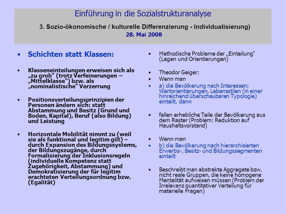 Einführung in die Sozialstrukturanalyse 3. Sozio-ökonomische / kulturelle Differenzierung - Individualisierung) 28. Mai 2008 Schichten statt Klassen: