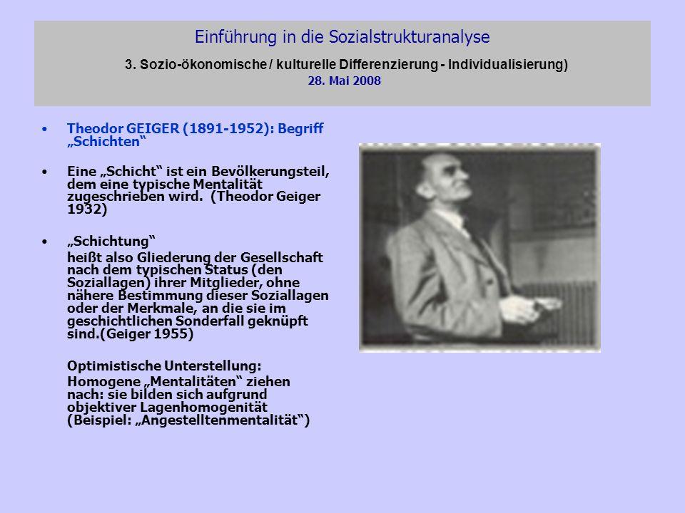 Einführung in die Sozialstrukturanalyse 3. Sozio-ökonomische / kulturelle Differenzierung - Individualisierung) 28. Mai 2008 Theodor GEIGER (1891-1952