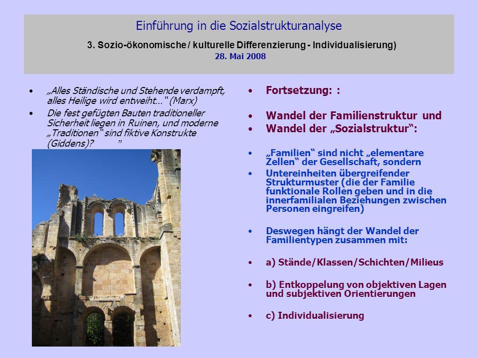 Einführung in die Sozialstrukturanalyse 3. Sozio-ökonomische / kulturelle Differenzierung - Individualisierung) 28. Mai 2008 Alles Ständische und Steh