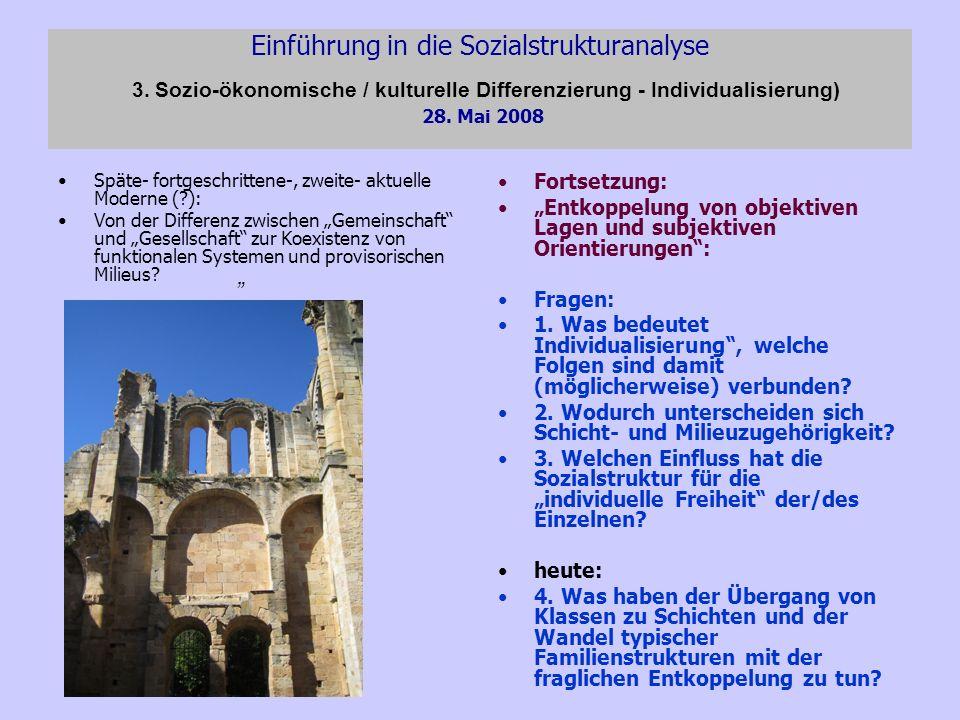 Einführung in die Sozialstrukturanalyse 3. Sozio-ökonomische / kulturelle Differenzierung - Individualisierung) 28. Mai 2008 Späte- fortgeschrittene-,