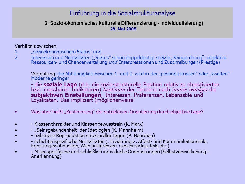 Einführung in die Sozialstrukturanalyse 3. Sozio-ökonomische / kulturelle Differenzierung - Individualisierung) 28. Mai 2008 Verhältnis zwischen 1.soz