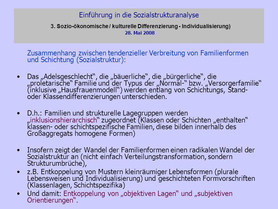 Einführung in die Sozialstrukturanalyse 3. Sozio-ökonomische / kulturelle Differenzierung - Individualisierung) 28. Mai 2008 Zusammenhang zwischen ten