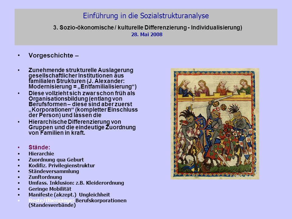 Einführung in die Sozialstrukturanalyse 3. Sozio-ökonomische / kulturelle Differenzierung - Individualisierung) 28. Mai 2008 Vorgeschichte – Zunehmend