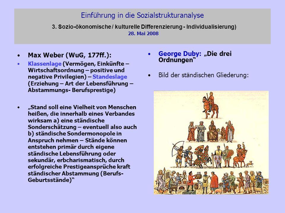 Einführung in die Sozialstrukturanalyse 3. Sozio-ökonomische / kulturelle Differenzierung - Individualisierung) 28. Mai 2008 Max Weber (WuG, 177ff.):