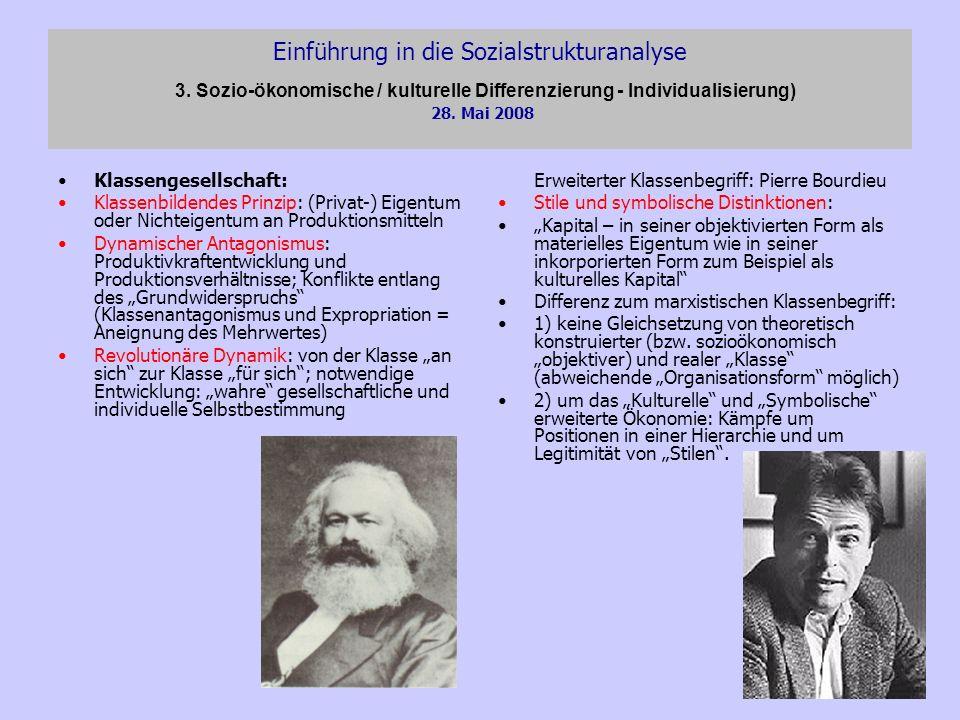 Einführung in die Sozialstrukturanalyse 3. Sozio-ökonomische / kulturelle Differenzierung - Individualisierung) 28. Mai 2008 Klassengesellschaft: Klas