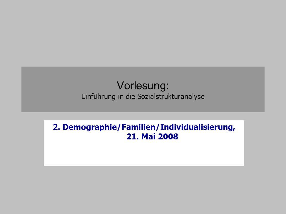 Vorlesung: Einführung in die Sozialstrukturanalyse 2. Demographie/Familien/Individualisierung, 21. Mai 2008