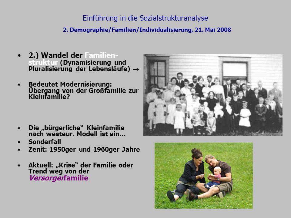 Einführung in die Sozialstrukturanalyse 2. Demographie/Familien/Individualisierung, 21. Mai 2008 2.) Wandel der Familien- struktur (Dynamisierung und