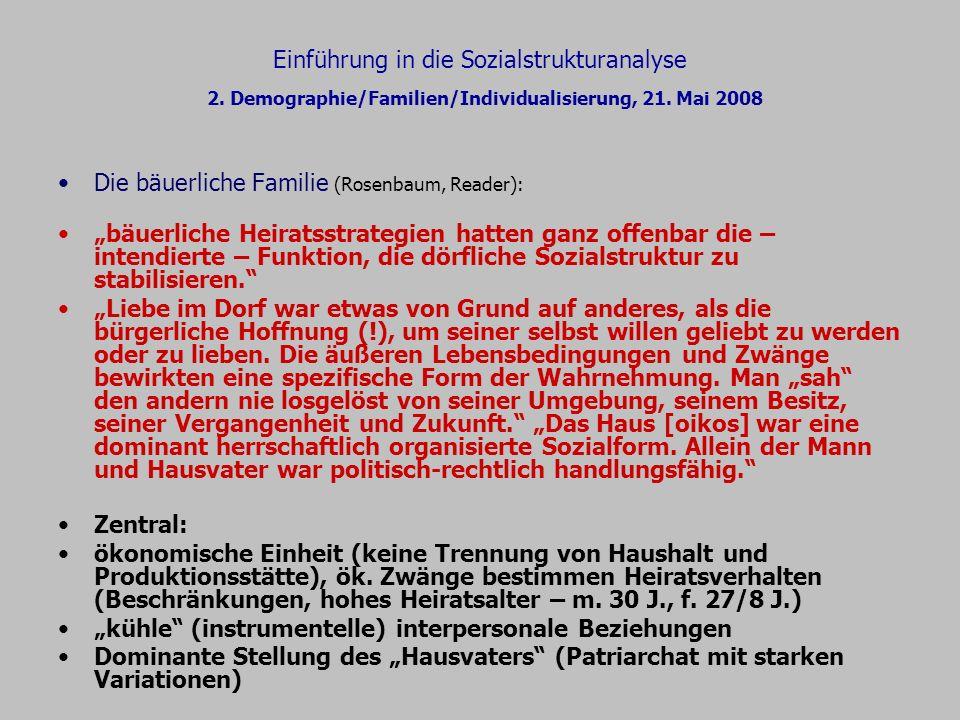 Einführung in die Sozialstrukturanalyse 2. Demographie/Familien/Individualisierung, 21. Mai 2008 Die bäuerliche Familie (Rosenbaum, Reader): bäuerlich