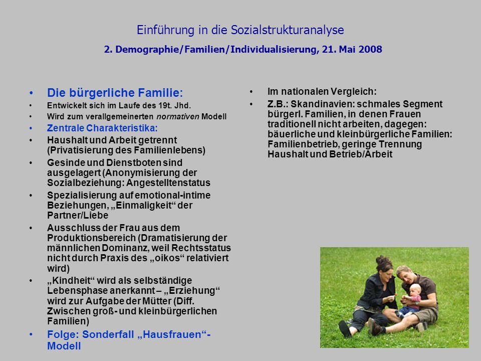 Einführung in die Sozialstrukturanalyse 2. Demographie/Familien/Individualisierung, 21. Mai 2008 Die bürgerliche Familie: Entwickelt sich im Laufe des