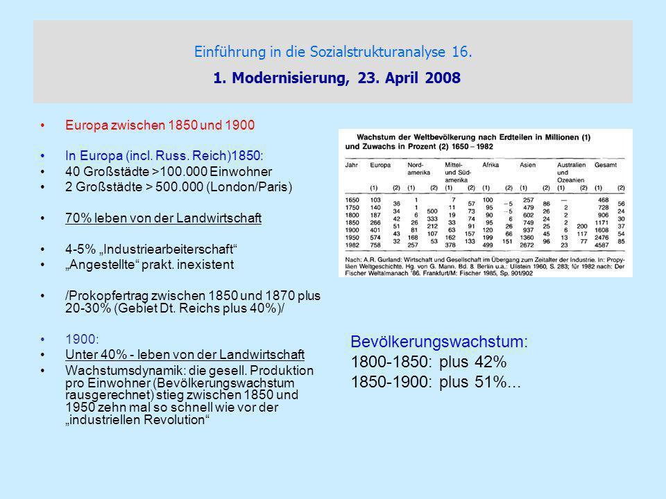 Einführung in die Sozialstrukturanalyse 16.1. Modernisierung, 23.