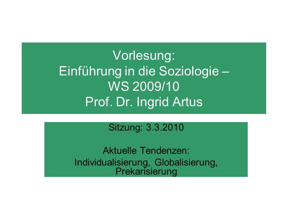Vorlesung: Einführung in die Soziologie – WS 2009/10 Prof. Dr. Ingrid Artus Sitzung: 3.3.2010 Aktuelle Tendenzen: Individualisierung, Globalisierung,
