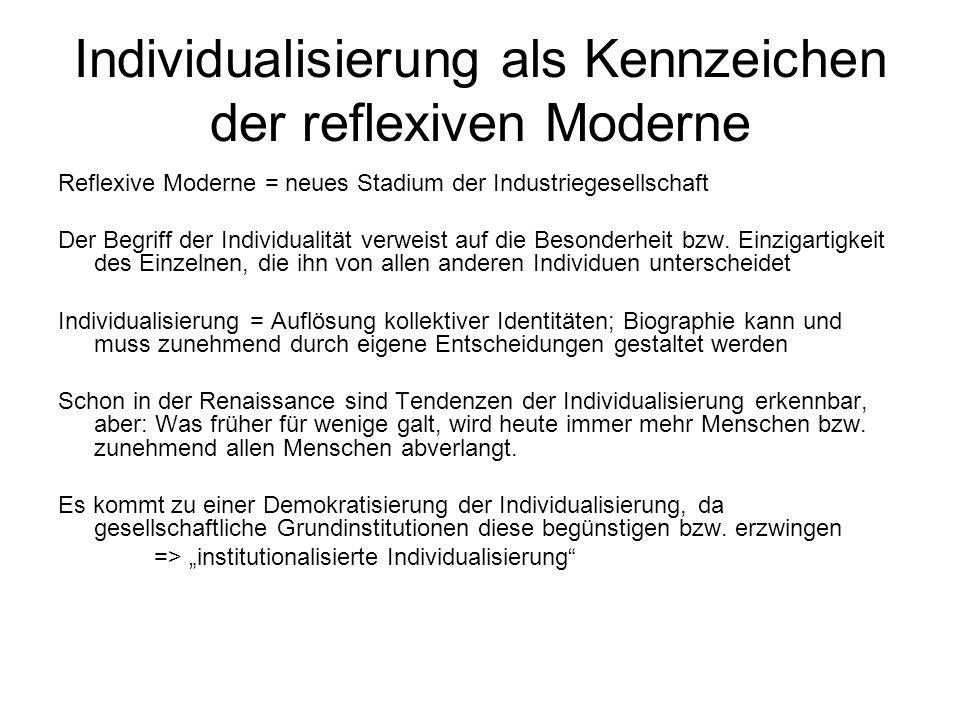 Individualisierung als Kennzeichen der reflexiven Moderne Reflexive Moderne = neues Stadium der Industriegesellschaft Der Begriff der Individualität v