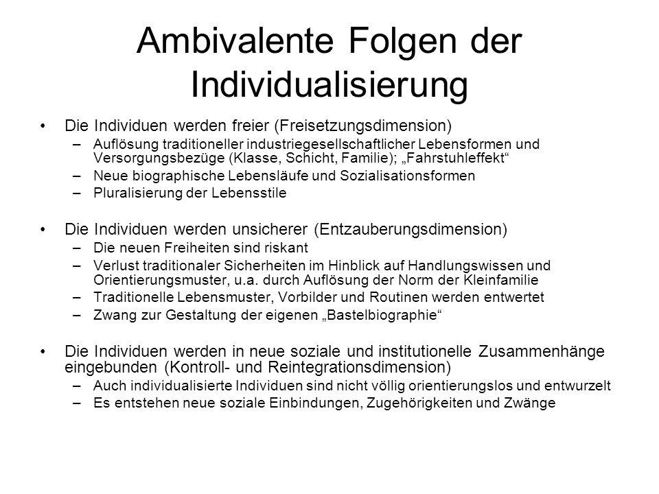 Ambivalente Folgen der Individualisierung Die Individuen werden freier (Freisetzungsdimension) –Auflösung traditioneller industriegesellschaftlicher L