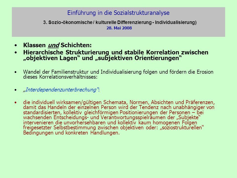 Einführung in die Sozialstrukturanalyse 3. Sozio-ökonomische / kulturelle Differenzierung - Individualisierung) 28. Mai 2008 Klassen und Schichten: Hi