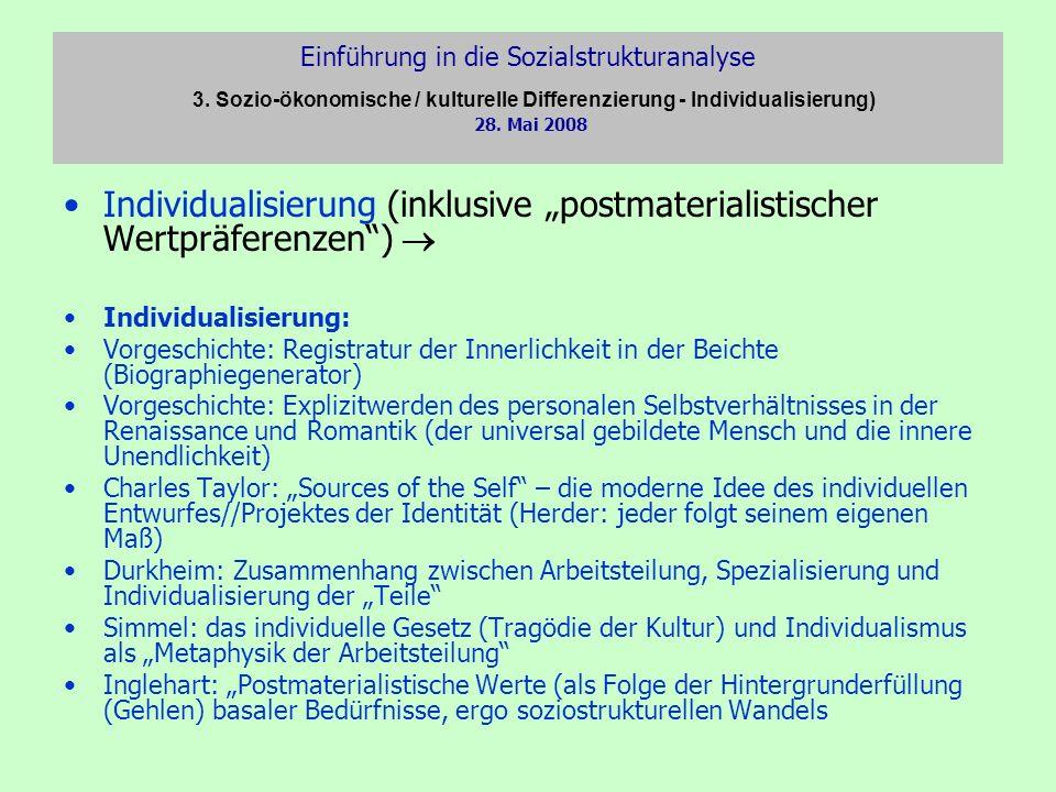 Einführung in die Sozialstrukturanalyse 3. Sozio-ökonomische / kulturelle Differenzierung - Individualisierung) 28. Mai 2008 Individualisierung (inklu