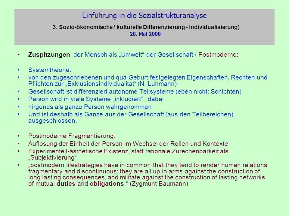Einführung in die Sozialstrukturanalyse 3. Sozio-ökonomische / kulturelle Differenzierung - Individualisierung) 28. Mai 2008 Zuspitzungen: der Mensch