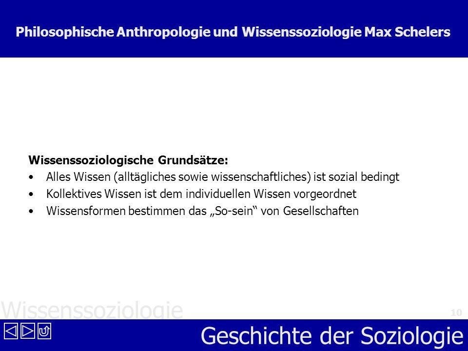 Wissenssoziologie Geschichte der Soziologie 10 Philosophische Anthropologie und Wissenssoziologie Max Schelers Wissenssoziologische Grundsätze: Alles