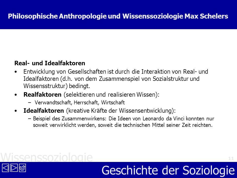 Wissenssoziologie Geschichte der Soziologie 11 Philosophische Anthropologie und Wissenssoziologie Max Schelers Real- und Idealfaktoren Entwicklung von