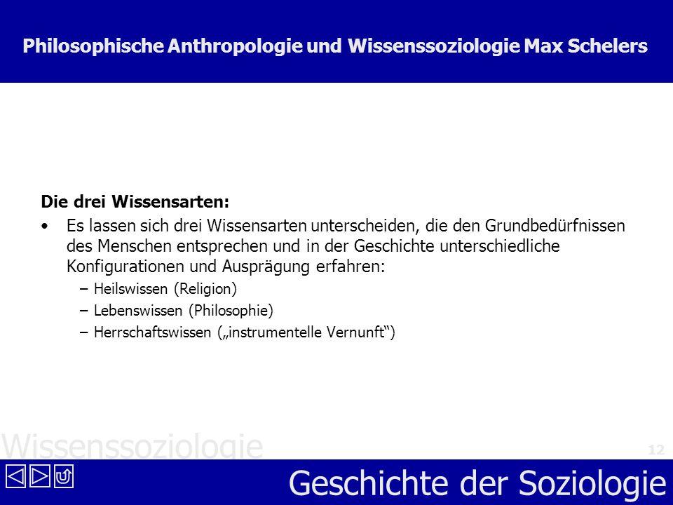 Wissenssoziologie Geschichte der Soziologie 12 Philosophische Anthropologie und Wissenssoziologie Max Schelers Die drei Wissensarten: Es lassen sich d