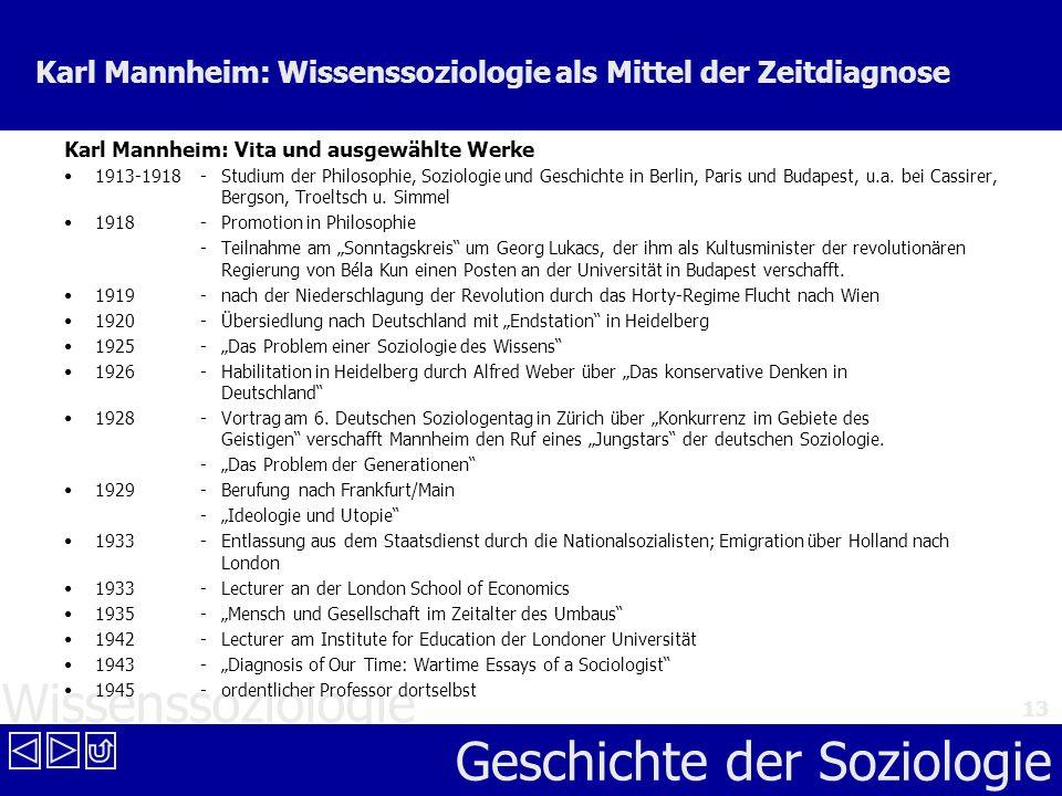 Wissenssoziologie Geschichte der Soziologie 13 Karl Mannheim: Wissenssoziologie als Mittel der Zeitdiagnose Karl Mannheim: Vita und ausgewählte Werke