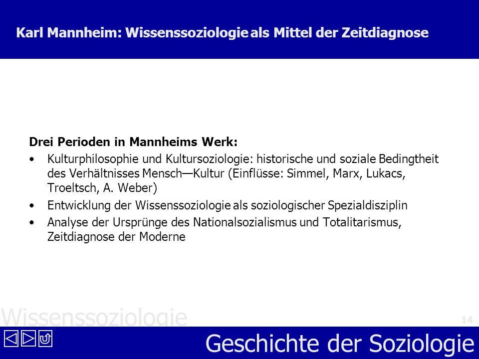 Wissenssoziologie Geschichte der Soziologie 14 Karl Mannheim: Wissenssoziologie als Mittel der Zeitdiagnose Drei Perioden in Mannheims Werk: Kulturphi