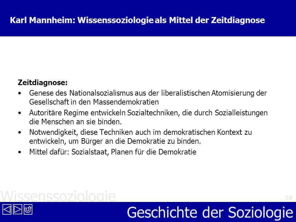 Wissenssoziologie Geschichte der Soziologie 18 Karl Mannheim: Wissenssoziologie als Mittel der Zeitdiagnose Zeitdiagnose: Genese des Nationalsozialism