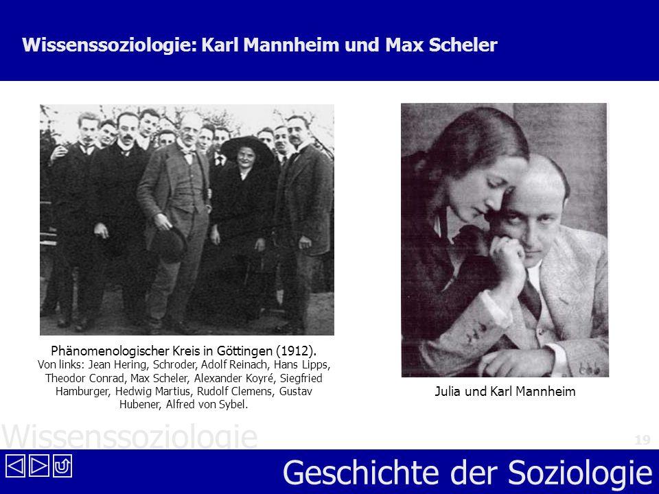 Wissenssoziologie Geschichte der Soziologie 19 Wissenssoziologie: Karl Mannheim und Max Scheler Phänomenologischer Kreis in Göttingen (1912). Von link